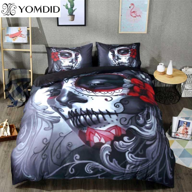 Skull Bedding Set Halloween Style Bed Sheet Queen King Double Bed Cover Flat Sheet Pillow Case Blend Skull Duvet Cover Set
