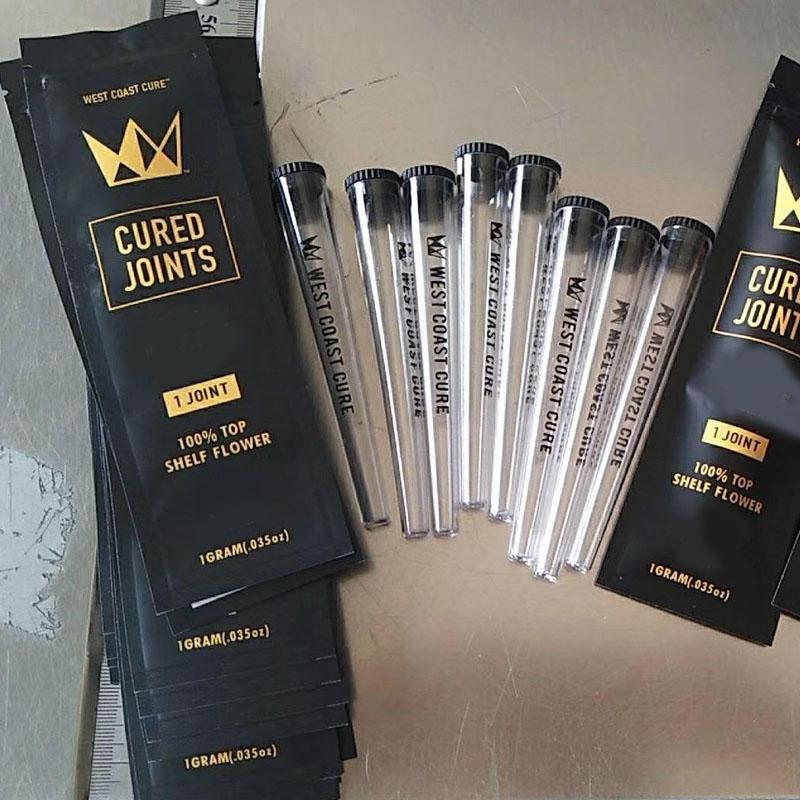 West Coast Cured Joints Bag 1pcs 3pcs Retail Package with Plastic Tube Package Top Shelf Flower Dry Herb Zipper Mylar Bag