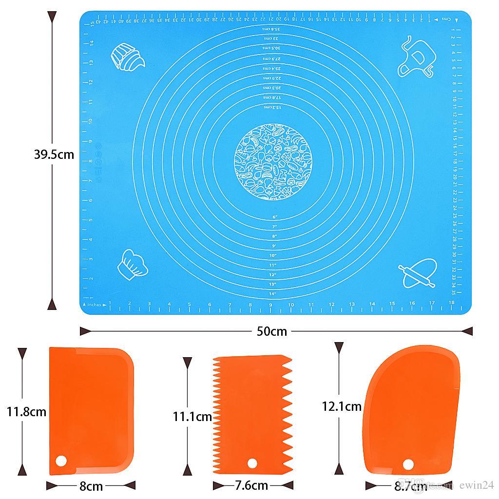 Cottura del silicone Mats antiaderente Pasticceria Mat per il BPA-Free Rolling Dough antiscivolo con alimenti Raschietti