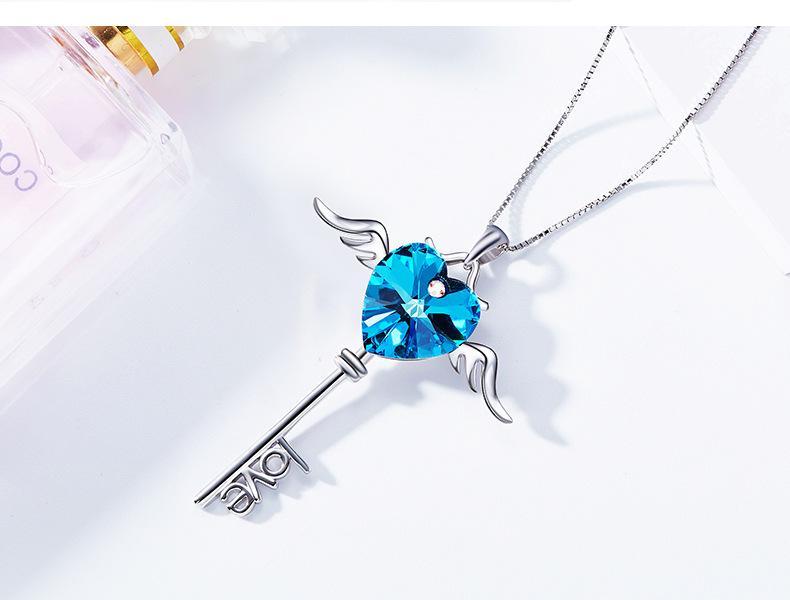 И американский fashion-S925 чистое серебро ожерелье в форме сердца с кристаллами Сваровски Подвеска