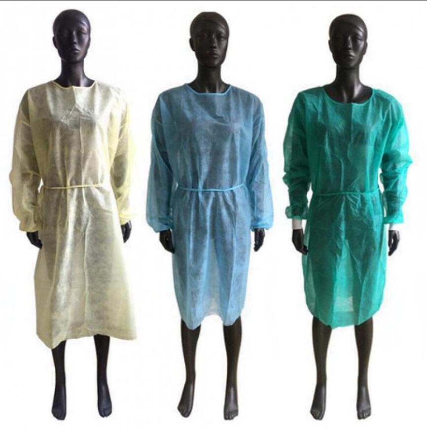 غير المنسوجة حماية العباءات المتاح PP الملابس العزلة واقية مكافحة الغبار أريكة الملابس مرآب الملابس OOA8182