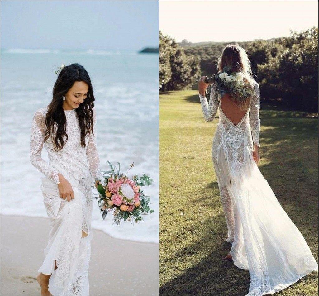 Amazing Boho Bohemian Wedding Dresses Beach 2020 Romantic Lace Long Sleeve Bateau V Open Back Bridal Dress Gowns Vestido De Novia
