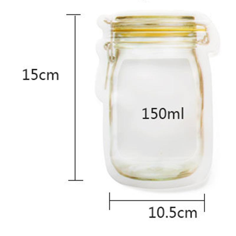 12 Pcs Jar Zipper Bag Airtight Reusable Snack Bags Food Saver Storage Bag S/L