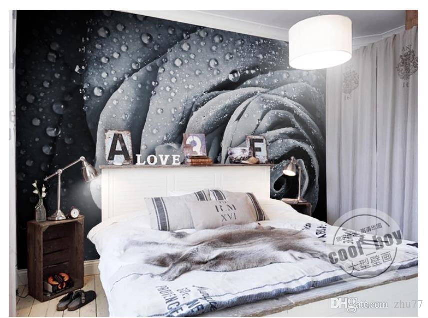 3D papel de parede personalizado foto de seda mural papel de parede Moderno e minimalista preto e branco gota de água subiu dewdrop quarto TV sofá fundo parede