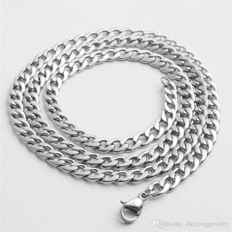 24'' 28'' 4mm width 316L Stainless Steel NK Rope Chain Silver Shining Polished High Quality Hip Hop Punk Men Chain Necklace Jewelry