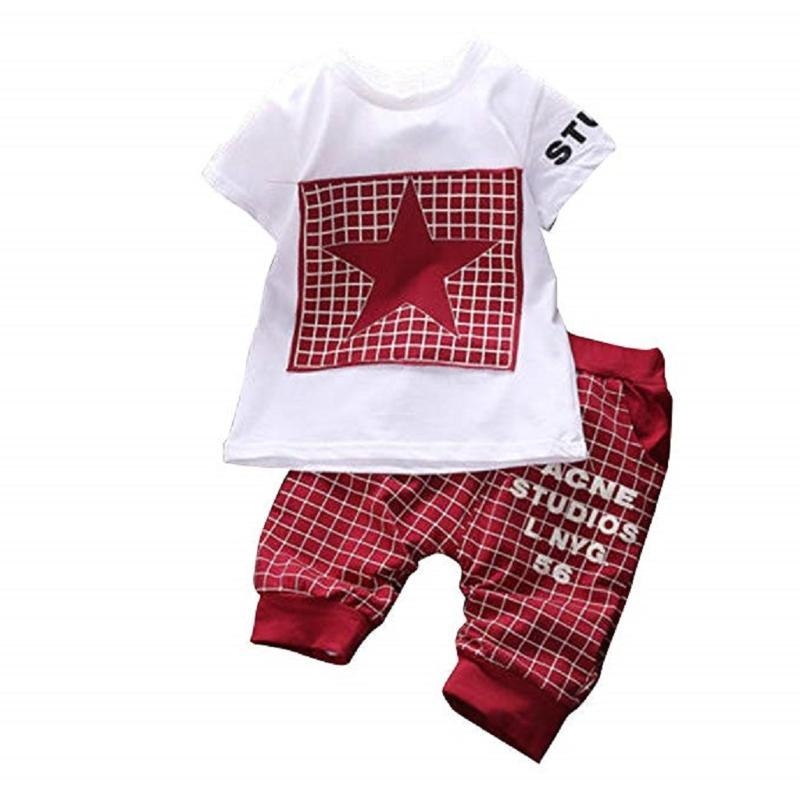 Baby Boy Kids Summer Short Sleeve Star Printed Shirt Sportswear T-shirt Top+Plaid Short Pants Clothes Outfit 0-4 Y