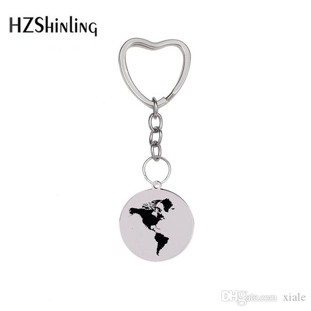 2019 New World Map Keychain Globe Maps Pendants Stainless Steel Keychain Silver Heart Chain Fashion Jewelry Men