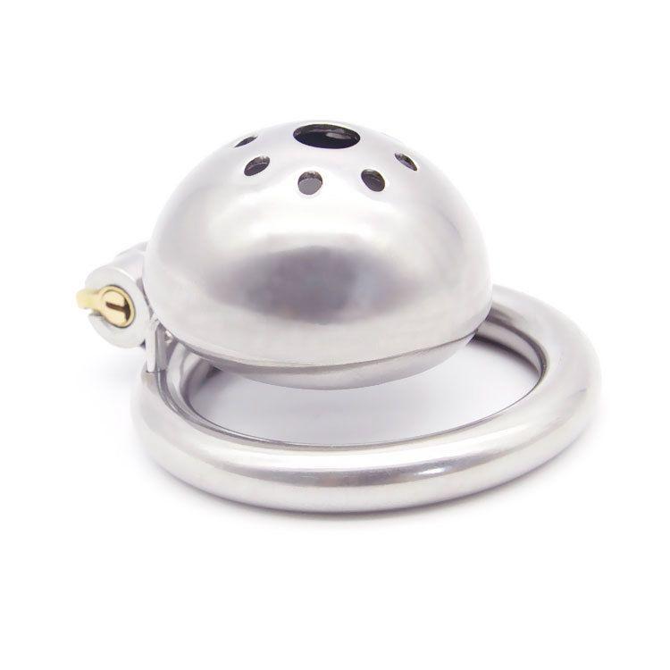 нержавеющая сталь мужчины целомудрие замок мужской целомудрие устройство супер маленький короткий петух клетка с стелс кольцо блокировки секс-игрушки C18122601