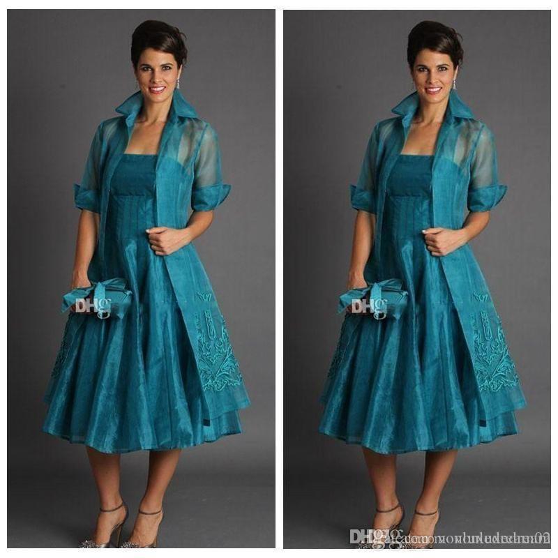 Элегантная линия плюс размер Короткие Матери невесты платья чай Длина органзы Вечерние платья с курткой