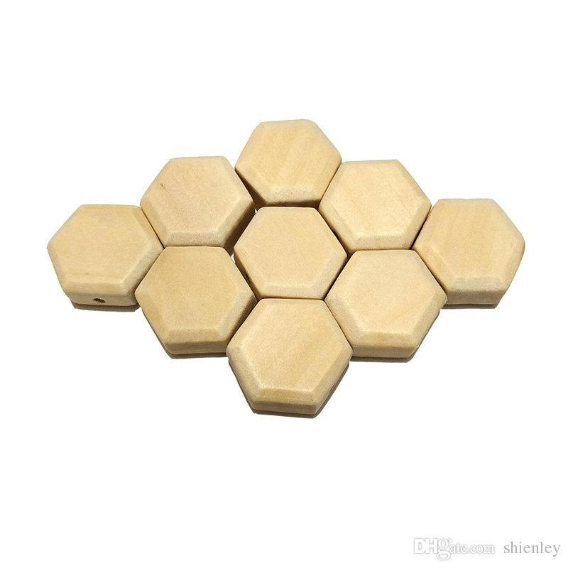 Wood Hexagon Beads Unfinished Solid Wood Beads For Jewelry Necklace Creations DIY Craft and Building Projects Children Handmade Beaded Mater