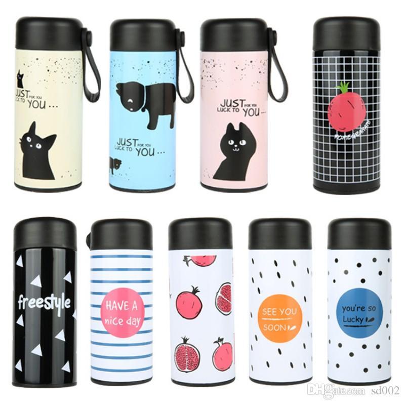 Moda 350 ml Paslanmaz Çelik Bardak Güvenlik Toksik Olmayan Çay Bardağı Çocuk Çocuklar Için Su Şişesi Çok Renkler 13my BB