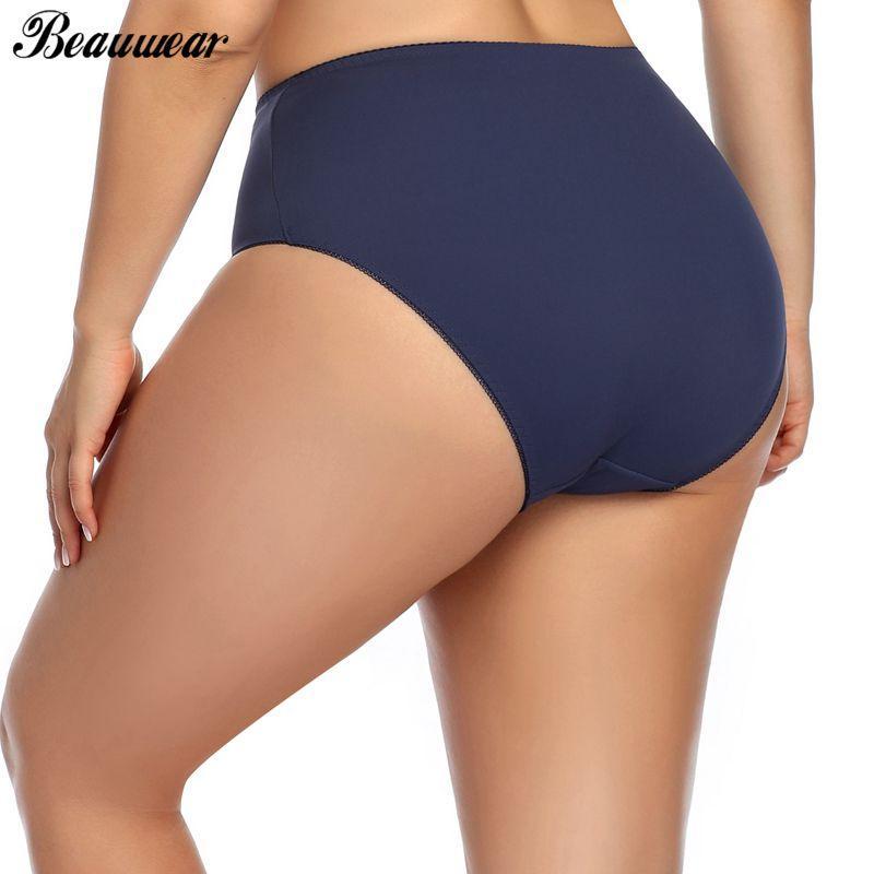 Mutandine Beauwear vita alta per le donne Biancheria intima per donne di grande formato Slip Traceless Plus Size sottile raso sexy mutandine femminili