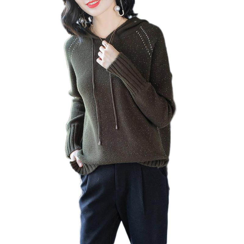 Kadın Örme Kazak 2019 Sonbahar Yeni Gevşek Kapüşonlu Kazak Yüksek Kaliteli Rahat Triko Bahar Moda Vahşi Bayan Kazak Lj193