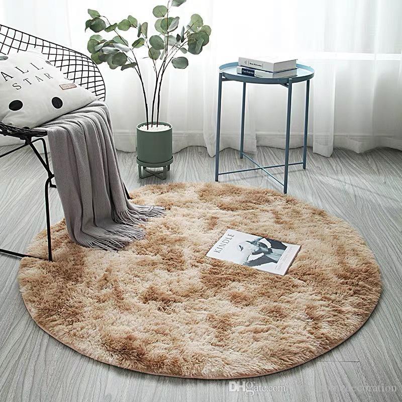 FBC19011004 Nordic Style Gradient Carpet Non slip Thicker Rugs Bathroom Area Round Mat For Living Room Soft Bedroom Floor Mats