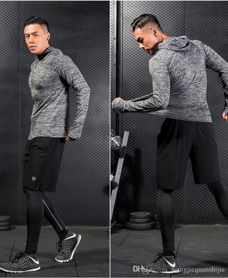 보디 빌딩 스포츠 후드 재킷 남성 단색 후드 티 후드 재킷 체육관 휘트니스 운동 재킷 남자 Sportwear