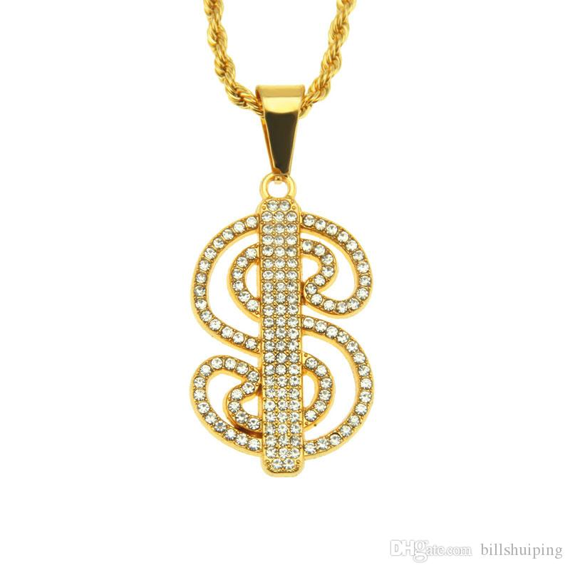 Hot selling New Iced Out Rhinestone S Letter Pendant Necklaces Hip Hop Bling Men Boy Jewelry