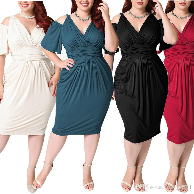 Summer dress 2018 Hot Sale Large Size women Dress Retro Big Size Vestidos Dew Shoulder Sexy V-neck Short Sleeve Pleated Clothing Vintage