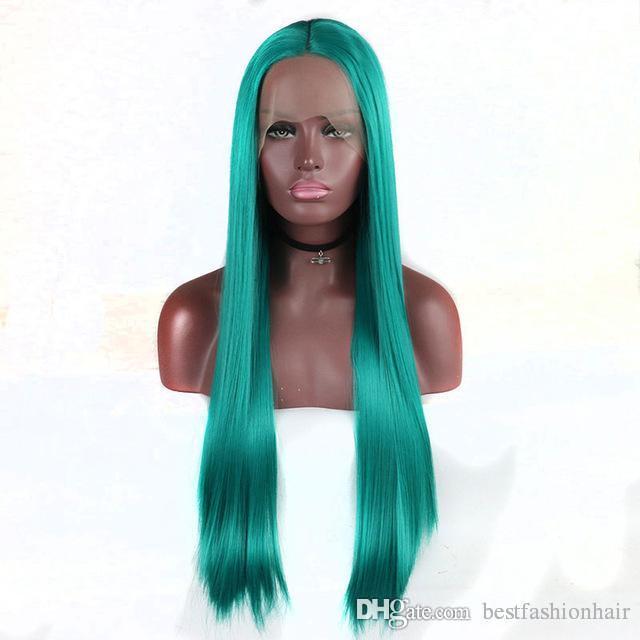 Parrucca blu sintetico Lacefront alta temperatura Fibra termoresistente diritta sintetica Bright Blue Lace Front Parrucche Cosplay Women For