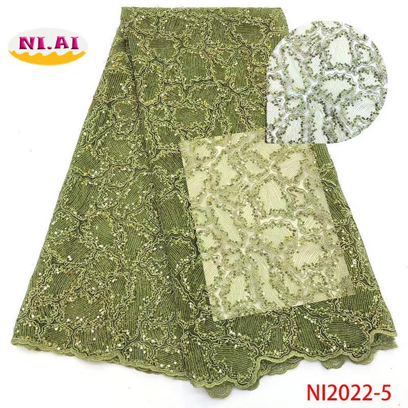 Tessuto di pizzo africano con paillettes, tessuto di pizzo tulle, tessuto nuovi abiti in pizzo modello Ni2022