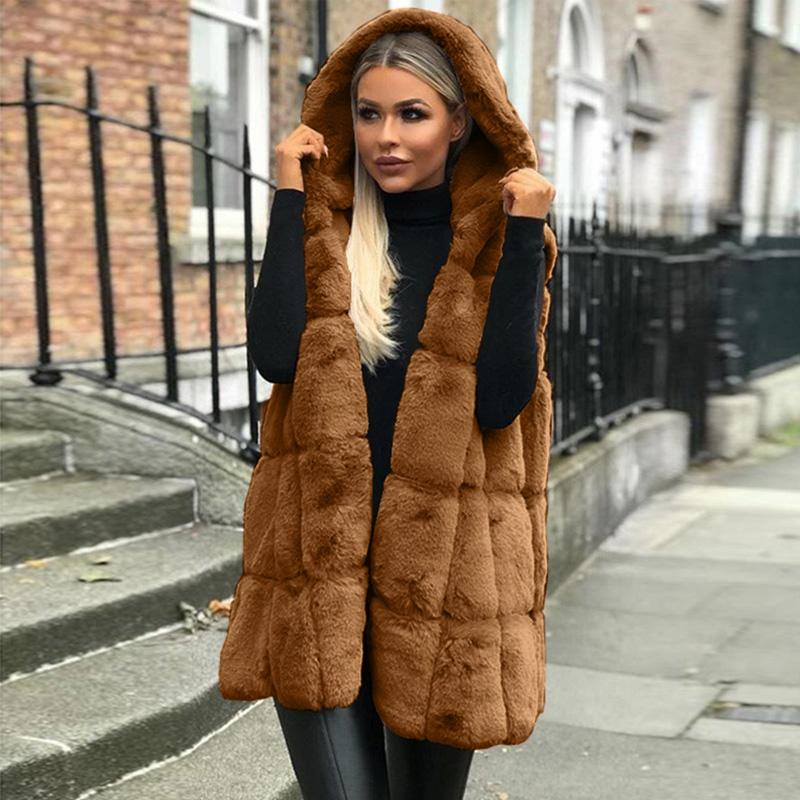 New Mulheres Long solto Vest Gilet Outwear Quente Faux Fur Colete Inverno Outwear Casacos fz3331