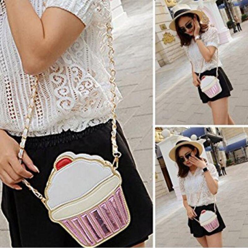 2020 Ice Cream Bag Fashion 2D Funny Ice Cream Cupcake Handbag Messenger Zipper Bag Purse Crossbody Splicing Messenger Body