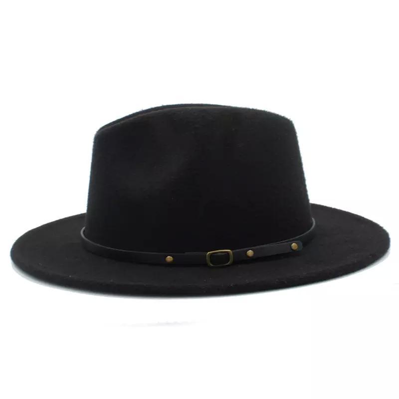 Moda-% 100 Yün Kadın Outback Geniş Brim Caz Godfather Cap Szie 56-58CM X18 ile Gangster Trilby Fedora H Keçe