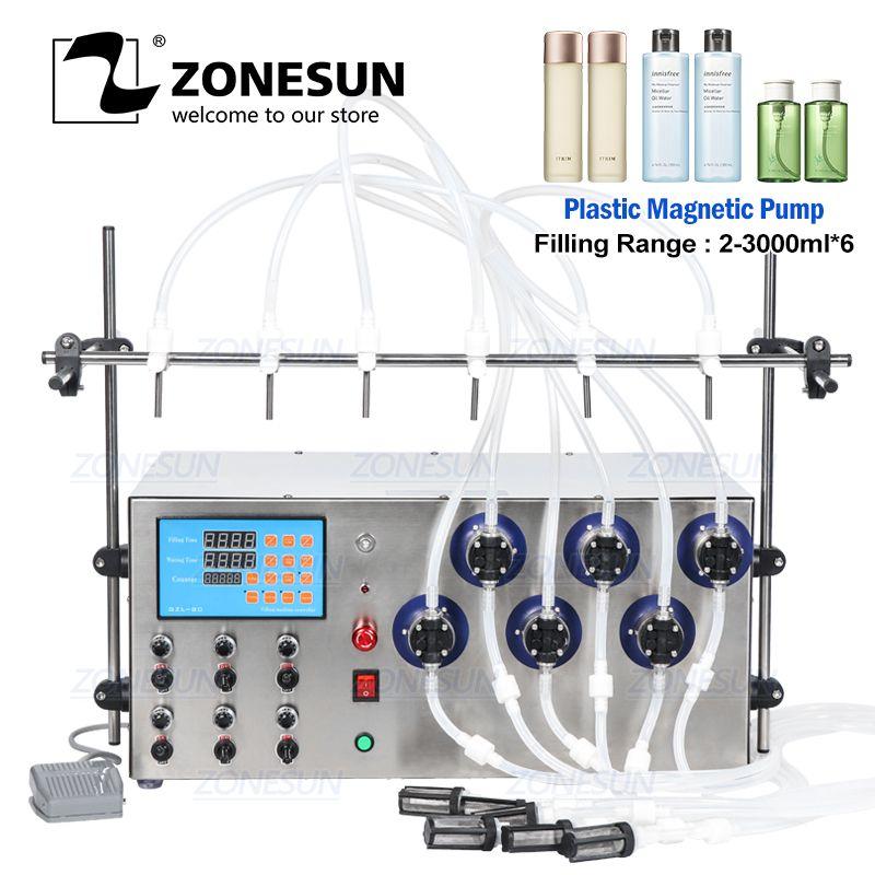 ZONESUN ستة رؤساء المغناطيسي مضخة المشروبات عصير عطور المياه من الضروري النفط الكهربائية السائل الرقمية آلة زجاجة ملء