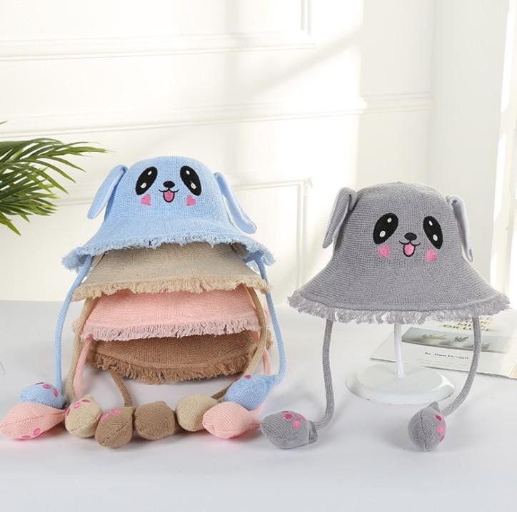 chunchan chapeau de soleil pour enfants bande dessinée chapeau fourrure créatif oreilles de lapin en coton et un chapeau de lin gros enfants mode chapeaux fille
