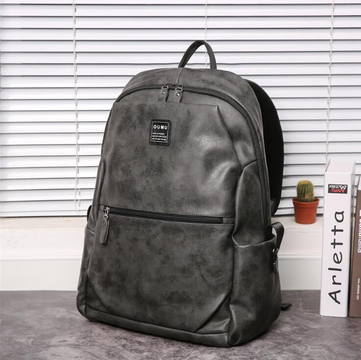 Factory wholesale men handbag high quality leather fashion backpack street trend grey casual backpack simple large-capacity leather student