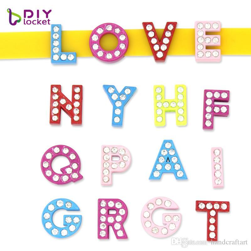 130pcs 8mm lacquer Letters English Alphabet A-Z DIY Slide letter Charm fit Bracelet /wristband LSSL024*130