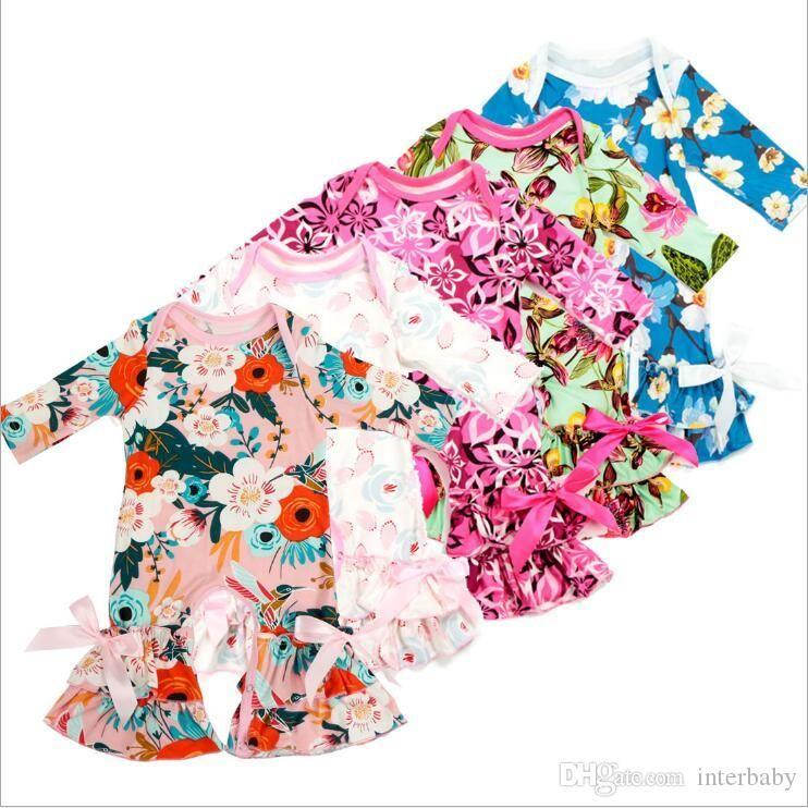 어린이 디자이너 의류 소녀 꽃 꽃 장난 꾸러기 유아 주름 프린트 점프 슈트 아장 아장 패션 바디 수트 유아 크롤링 바디 슈트는 BYP5315 탑