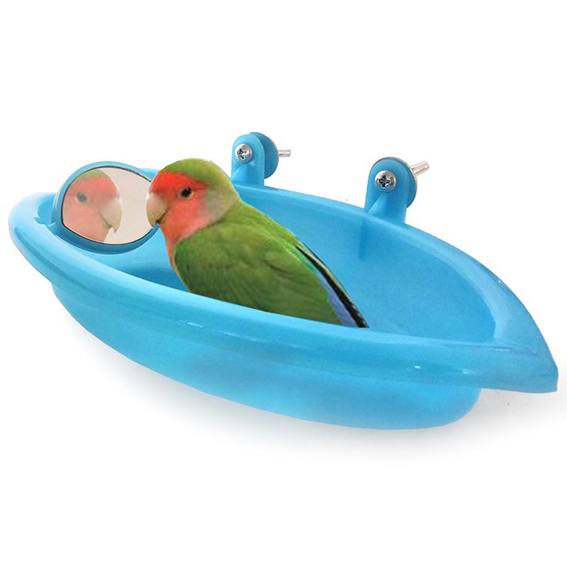 Vogel Badewanne mit Vogel-Spiegel Kleine Oval Vogel Badewanne Tierkäfigzubehör Parrot Bad Dusche Bade Hilfsgütern Box