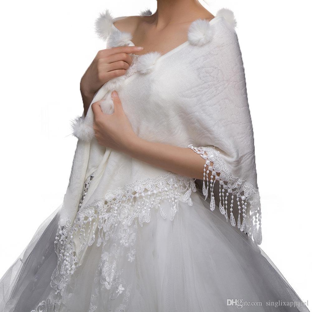 Faux Rabbit Fur Shrug Faux Fur Shawl with Furball & Lace Tassel Fur Wraps and Shawl Stole Cape for Brides & Bridesmaids