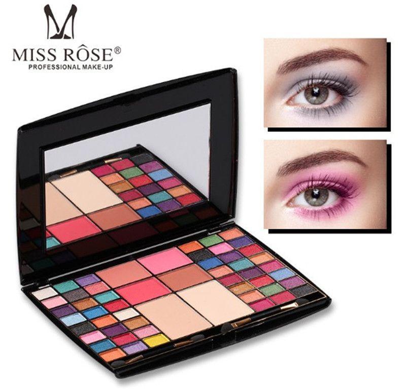 New LOOK Miss Rose 48 colour Makeup Makeup artist ظلال العيون لوحة أحمر الخدود بودرة مضغوطة مطفي اللمعان مع فرشاة