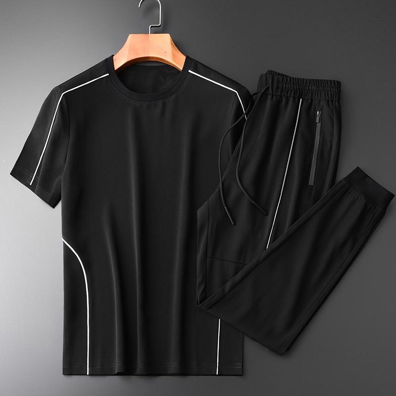 (T-Shirts + calções) Luxo Sets Branco lipping Projeto Verão Homem Sport Plus Size 4xl Casual Fino Mens Set Com Pant