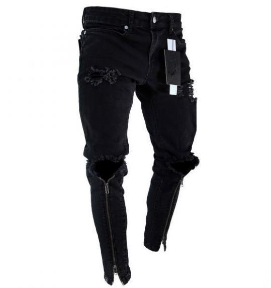 Hommes Designer Trous Zipper Pantalon Crayon noir Mode Ripped Slim Fit sentants Jeans Hommes Vêtements