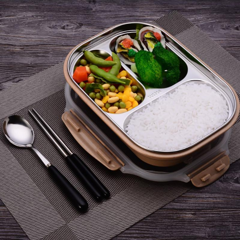 ONEUP stainless steel Lunch box Eco-friendly Wheat Straw Food container with cutlery Bento Box With Compartments Microwavable C18112301