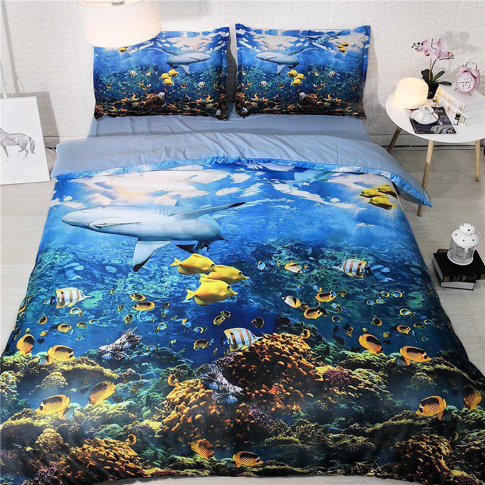 tema debaixo d'água gêmeo cama peixes capa de edredão rainha golfinho colcha de tamanho completo azul e amarelo coverlet crianças cama define menino e menina