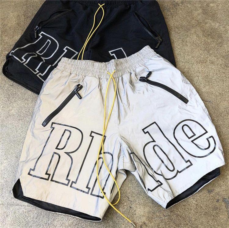 3 M Yansıtıcı Rhude Şort Erkek Kadın 1: 1 Yüksek Kaliteli Streetwear Moda Rahat Hip Hop Plaj Spor Erkek Kısa Pantolon