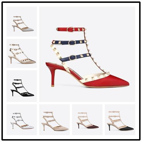 Womens Ladies Studded Shoes Pointed Toe Strappy Pumps High Heels Rivet Sandals