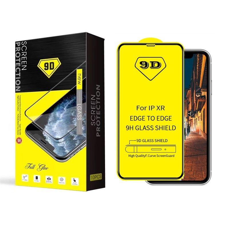 9D Voll Gebogenes Glas für iPhone 11 Pro MAX XR Voll Kleber Displayschutz Ausgeglichenes Glas für Samsung-S10E A10 A30 A70 mit Kleinpaket