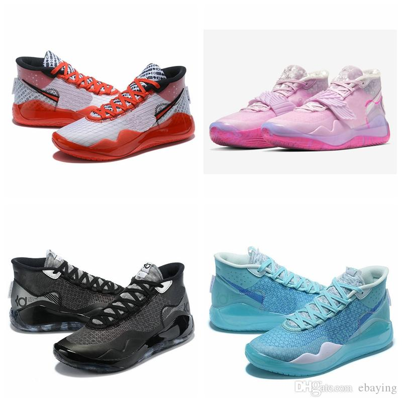 İyi Kalite KD Kevin Durant 12 12s Teyzem Erkek Basketbol Ayakkabı ZOOM Siyah Antrasit Mavi Gaze YouTube Spor Sneakers boyutu bize 7-12