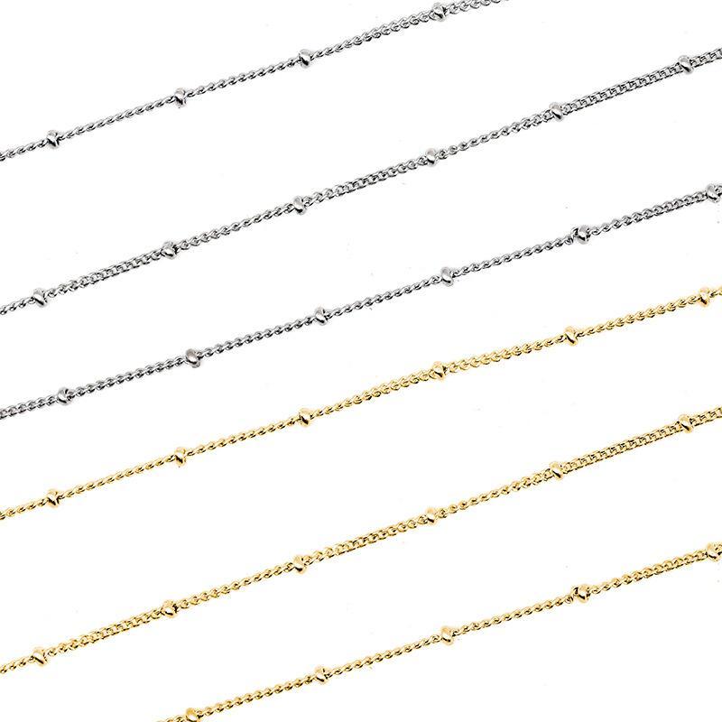 Silver / Gold aço inoxidável Chain Link Para fazer jóias 1,5 do metal Corrente Com Beads por 5 metros Cadenas Por Metros 5m Atacado