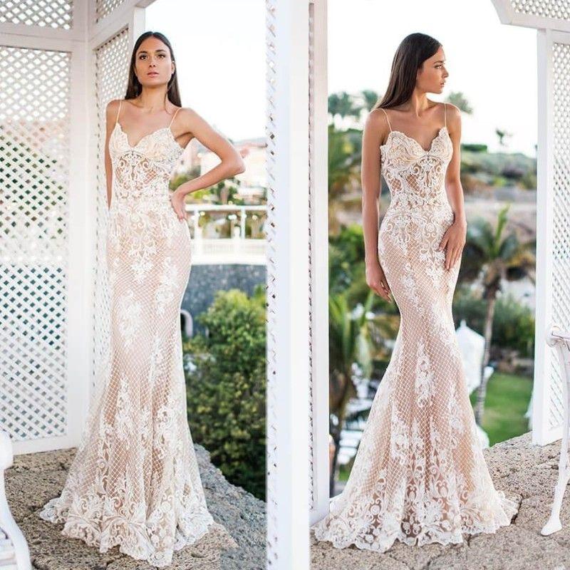 2020 Oksana Mukha Sirène Robes De Mariée Spaghetti Sexy Dentelle Applique plage Plus La Taille Sheer Robe De Mariée Robe de mariée