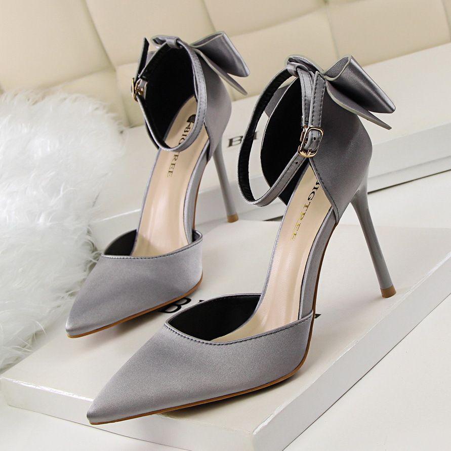 Hot Sale-sapatos de salto alto senhoras de cetim salto alto estilo coreano pulseira pontas do dedo do pé fivela bombas de bling zy230 sapatos agradável bowtie senhora