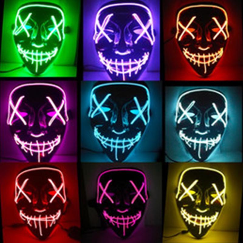 Máscaras Máscara de Halloween Led Maske Light Up Partido Neon Maska Cosplay Mascara Horror Mascarillas Brilho In Dark Masque V de Vingança