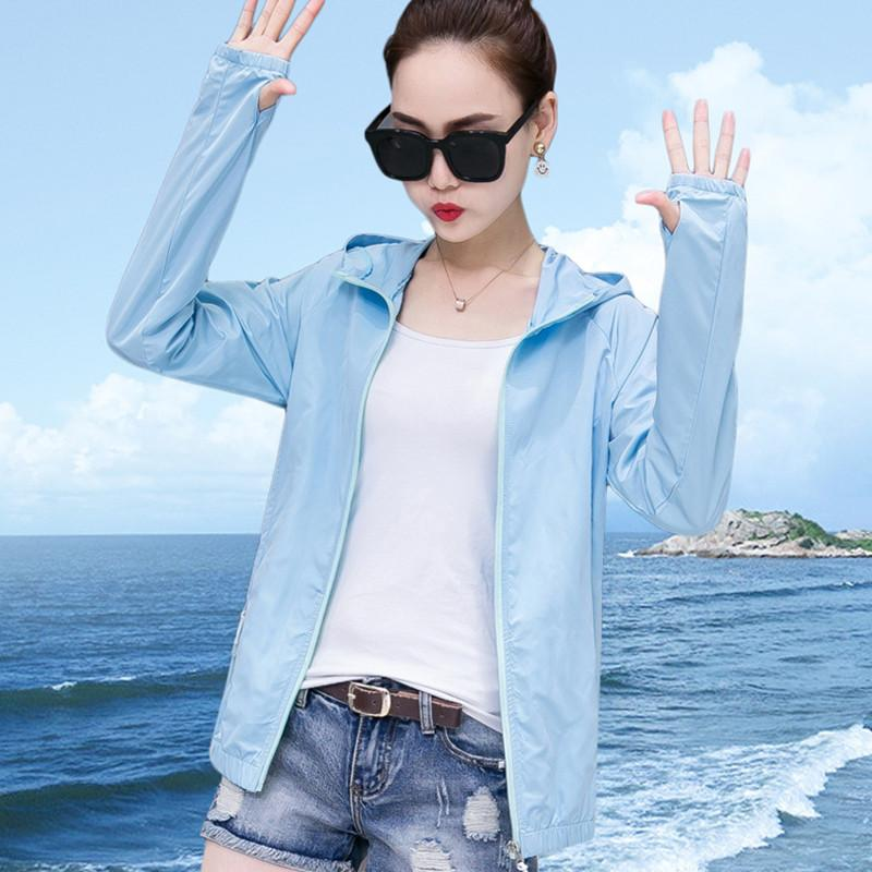 Thin Summer Sunscreen Jacket Women Short Casual Coat Long Sleeve Hooded Clothing Femme Fashion Solid Color Tops Plus Size 4XL