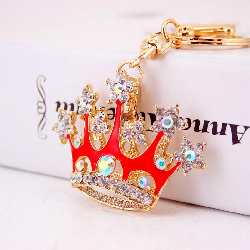 couronne de diamant Creative métal cristal porte-clés de voiture sac de accessoires pendentif de femmes petits cadeaux