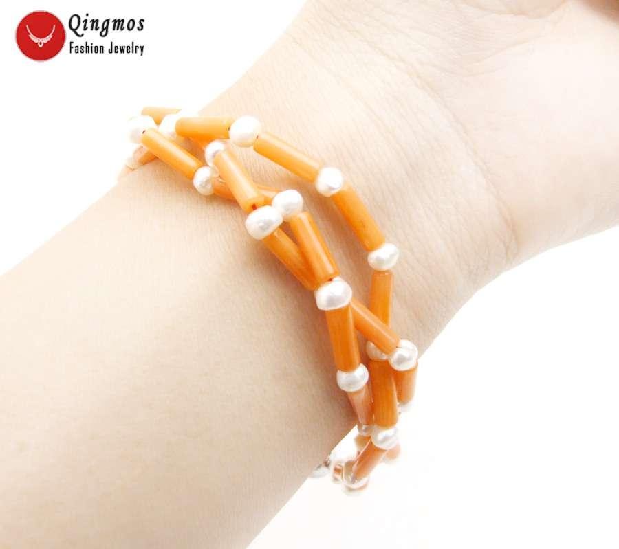 all'ingrosso Moda spessa fetta 3 bracciale di corallo * 9 millimetri d'arancia naturale per le donne con 4-5mm gioielli White Pearl Bracciale 3 Strand 7.5 ''