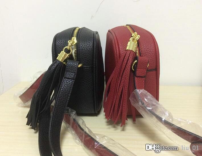Nueva alta calidad del estilo mujeres de la manera de las mujeres de cuero de diseño de la borla de Soho Disco Bolsa de hombro bolsos del monedero del bolso con la bolsa de polvo